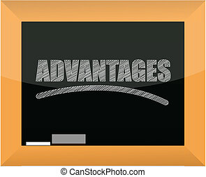 word advantages written on a blackboard illustration design