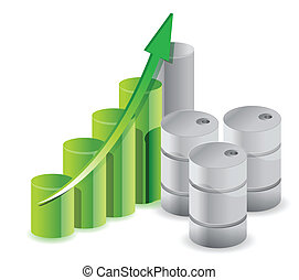 oil barrels business graph illustration design over white