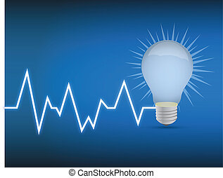 lifeline lightbulb illustration design over a blue...