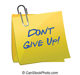 Don't give up message illustration design over white