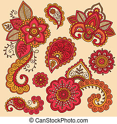 Henna Doodles Mehndi Tattoo Set - Colorful Henna Doodle...