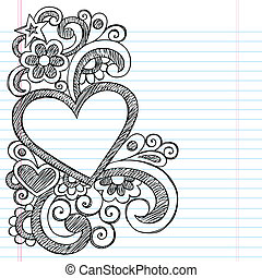 Heart Sketchy Doodle Picture Frame - Heart Frame Border Back...