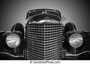 car ancient forward part close up