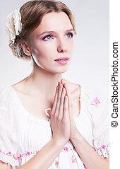 devoción, fe, joven, cristiano, mujer, rezando,...
