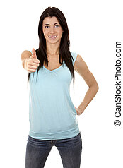 woman giving thumb up - casual brunette showing thumb up...