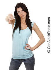 woman giving thumb down - casual brunette showing thumb down...