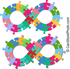 Infinity 8 shape puzzle pieces isolated shadow