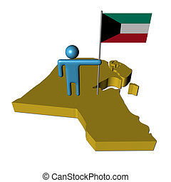 Abstract person with flag on Kuwait map illustration