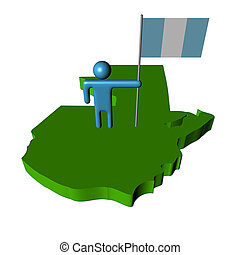 Abstract person with flag on Guatemala map illustration