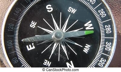 Compass Spins in Sunlight - Toy compass spins via hand in...