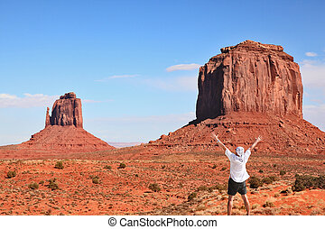 The tourists in Monument Valley