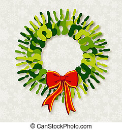 Diversity green hands Christmas wreath.