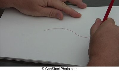 Drawing Sports Car on Paper - Hand begins drawing a sports...