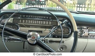 Classic Car Steering Wheel - Still of classic car steering...