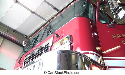 Fire Truck Front Lights On - Front shot of red fire truck...