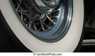 Classic Car Tire and Rim Closeup - Still shot of classic...