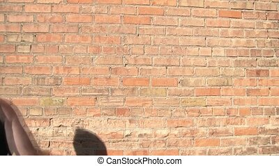 Fight with Broken Bottle - Man is thrown against brick wall...