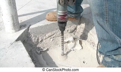 Drilling Hole into Concrete