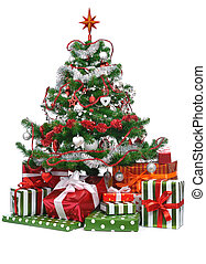decorated Christmas tree - gifts under decorated Christmas...