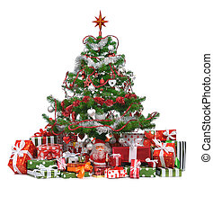 decorated Christmas tree - heap of gifts under decorated...