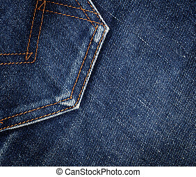 Jeans pocket - Blue denim jeans texture. Background. Close...