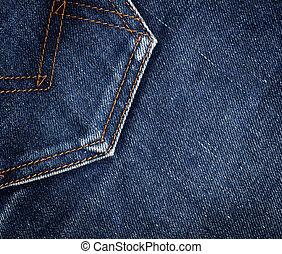 Jeans pocket - Blue denim jeans texture. Background. Close...