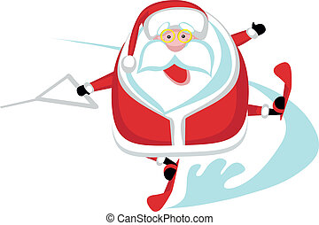 Extreme Santa - Cartoon  Santa  waterskiing.Separate layers