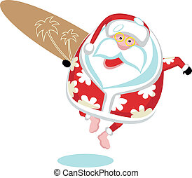 Extreme Santa - Cartoon Santa surferSeparate layers