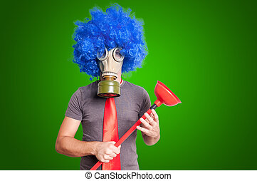 funny guy with gas mak, blue wig and red plunger on green...