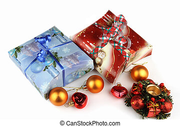 Christmas box with Christmas decorations on white background...