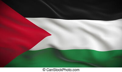 Highly detailed flag of Palestine ripples in the wind....