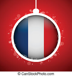 Merry Christmas Red Ball with Flag France
