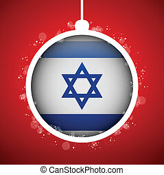 Merry Christmas Red Ball with Flag Israel