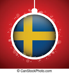Merry Christmas Red Ball with Flag Sweden