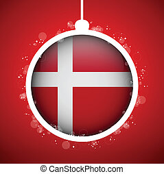 Merry Christmas Red Ball with Flag Denmark