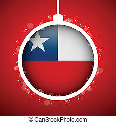 Merry Christmas Red Ball with Flag Chile - Vector - Merry...