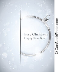 Vector - Merry Christmas Happy New Year Ball Silver with...
