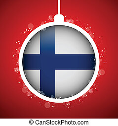 Merry Christmas Red Ball with Flag Finland