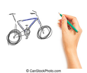 Woman's Hand draws a bicycle