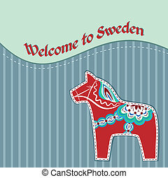 Card with swedish wooden horse - Greeting card with red dala...