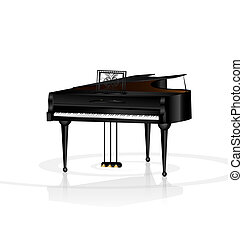 piano in white room - a large black piano in a white room