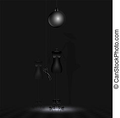 shadow of fashion - in a dark abstract room are two black...