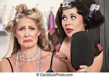 Pouting Lady in Bad Hairdo - Pouting woman with mirror and...