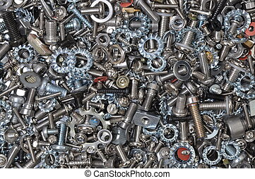 Bolts, nuts, screws and washers background