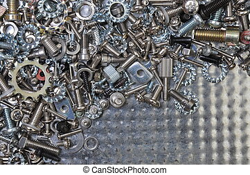Nuts and bolts on chrome plated sheet