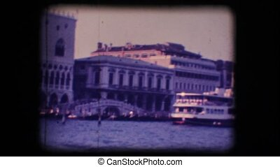 Vintage 8mm. Ferryboats in Venice