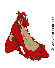 female pair of red shoes and red beadsand red purse