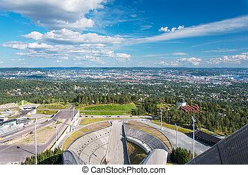 vista, esquí, Saltar, arena, Oslo, Noruega