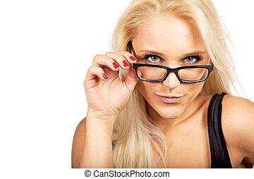 Cute Secretary Looking at the Camera