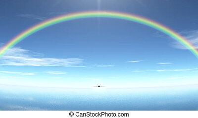 airplane - flying airplane and rainbows